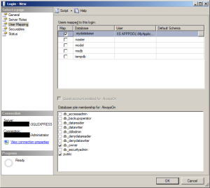 Configure the login to access your database