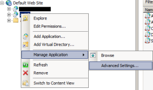 Configure the IIS application