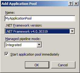 Configuring the applicaton pool