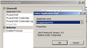 Select your new application pool