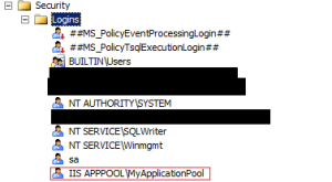This login should be created for your MyApplicationPool account